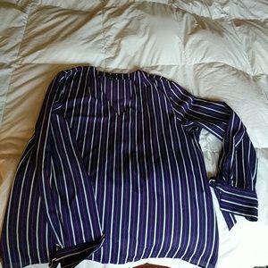 Purple pinstripe top